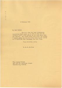 Letter from W. E. B. Du Bois to Louise Miller