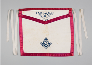 White canvas Masonic apron owned by H.C. Anderson