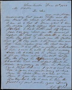 A. J. McElveen, Sumterville, S.C., autograph letter signed to Ziba B. Oakes, 13 December 1853