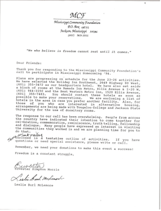 Letter from the Mississippi Community Foundation to participants in Mississippi Homecoming '94
