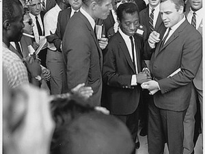Civil Rights March on Washington, D.C. [Author James Baldwin with actors Marlon Brando and Charlton Heston.], 08/28/1963