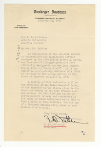 Letter from Tuskegee Institute to W. E. B. Du Bois