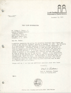 Letter from Mark W. Andresen to Sidney F. Thomas, Jr., December 13, 1979