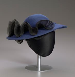 Navy portrait hat by Mr. John from Mae's Millinery Shop