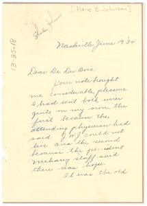 Letter from Marie B. Johnson to W. E. B. Du Bois