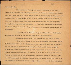 Bartolomeo Vanzetti typed letter (copy) to Pei Kan Li, [Dedham, 9 June 1927]