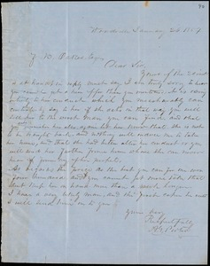 A.G. Porter, Woodville, autograph letter signed to Ziba B. Oakes, 26 January 1854