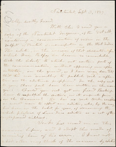 Letter from George Bradburn, Nantucket, [Massachusetts], to William Lloyd Garrison, 1839 Sept[ember] 3
