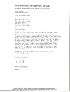 Letter from Mark H. McCormack to Darwin N. Davis