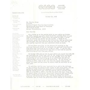 Letter, Mary Ellen Smith to Charles Glenn, October 25, 1976.