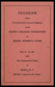 Program of the forty-second annual session of the North Carolina Federation of Negro Women's Clubs