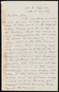 Letter from Oliver Johnson, [New York], to Samuel May, April 26, 1887