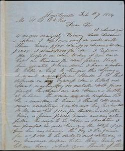 A. J. McElveen, Sumterville, S.C., autograph letter signed to Ziba B. Oakes, 7 February 1854