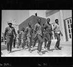 African American boys walk to summer jobs in Watts, Los Angeles (Calif.)