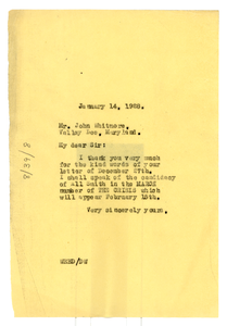 Letter from W. E. B. Du Bois to John Whitmore