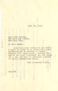 Letter from W. E. B. Du Bois to Edna Porter