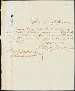 Wylly & Montmollin, Savannah, Ga., manuscript letter signed to Ziba B. Oakes, 29 April 1854