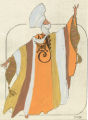 Costume design drawing, stylized robe with turban and scarf, Las Vegas, June 5, 1980