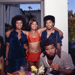 Gwen Gordy Fuqua, Lola Falana, and Butch Tavares at Berry Gordy's party, Los Angeles