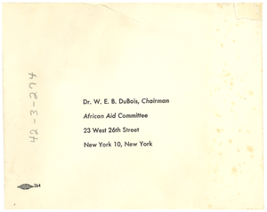 Reply card and envelope from unidentified correspondent to W. E. B. Du Bois