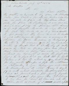 A. J. McElveen, Sumterville, S.C., autograph letter signed to Ziba B. Oakes, 17 July 1854