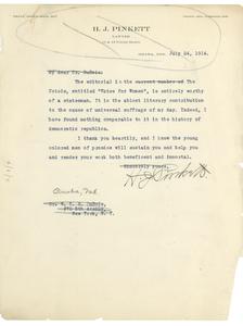 Letter from H. J. Pinkett to W. E. B. Du Bois