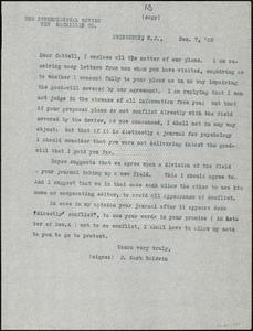 Baldwin, James Mark, 1861-1934 typed letter (copy) to J.Mc. K. Cattell, Princeton, N.J., 7 December 1903