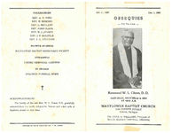 Thumbnail for Obsequies for the late Reverend W.L. Glenn, D.D., Saturday, December 6, 1969, at 10:00 a.m., Mayflower Baptist Church, 5858 Fourth Street, Detroit, Michigan, Dr. Chas H. Williams, President of Baptist Ministers Conference, officiating