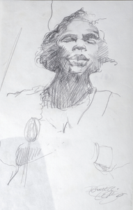Sketch of Marian Anderson (one of three)