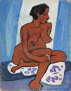 Seated Female Nude with Flowered Drape