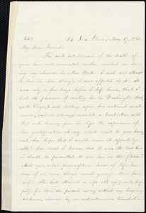 Letter from William Lloyd Garrison, 14 Dix Place, Boston, [Mass.], to Caroline Coddington Thayer, May 19, 1860