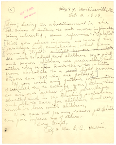 Letter from L. A. Harris to the Crisis