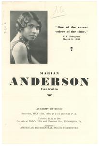 Marian Anderson concert program