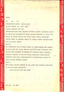 Telegram from World Peace Council to W. E. B. Du Bois