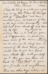 Letter from Josiah P. Marquand, [New York, N.Y.], to William Lloyd Garrison, June 16 / 1877