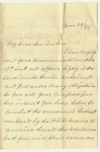 Letter from Peter W. Ray to Jacob Norton, 1884 November 23