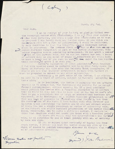 Baldwin, James Mark, 1861-1934 typed letter (copy) to Charles Judd, 29 March 1906