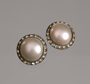 Circular pearl and rhinestone earrings from Mae's Millinery Shop