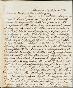 T.C. Tharin, Grumsville, S.C. [?], autograph letter signed to Ziba B. Oakes, 19 September 1854