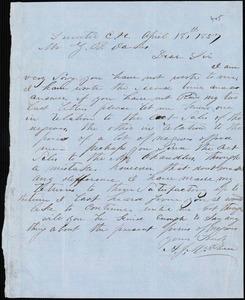 A. J. McElveen, Sumter Court House, S.C., autograph letter signed to Ziba B. Oakes, 18 April 1857