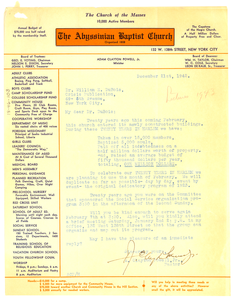 Letter from A. Clayton Powell, Jr. to W. E. B. Du Bois