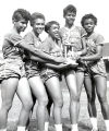 Willie B. White, Martha Hudson, Wilma Rudolph and two unidentified women of the Tennessee State University Tigerbelles at the Penn Relays.