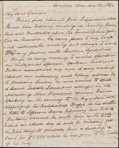 Letter from George Thompson, London, [England], to William Lloyd Garrison, 1862 December 12