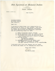 Letter from State Agricultural and Mechanical Institute for Negroes to W. E. B. Du Bois