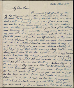 Letter from Lucia Weston, Boston, [Mass.], to Anne Warren Weston, April 1839