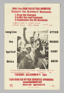 Poster for events in support of the indicted Attica inmates