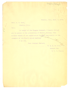 Letter from W. E. B. Du Bois to A. S. Root