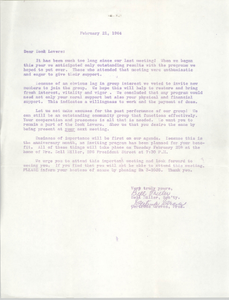 "Letter from Bell Miller and Gertrude Graves to ""Book Lovers,"" February 21, 1964"