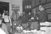 Sheriff Lucius Amerson and his deputies being sworn into office by Judge Preston Hornsby at the Macon County courthouse.