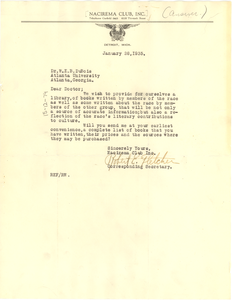 Letter from Nacirema Club to W. E. B. Du Bois